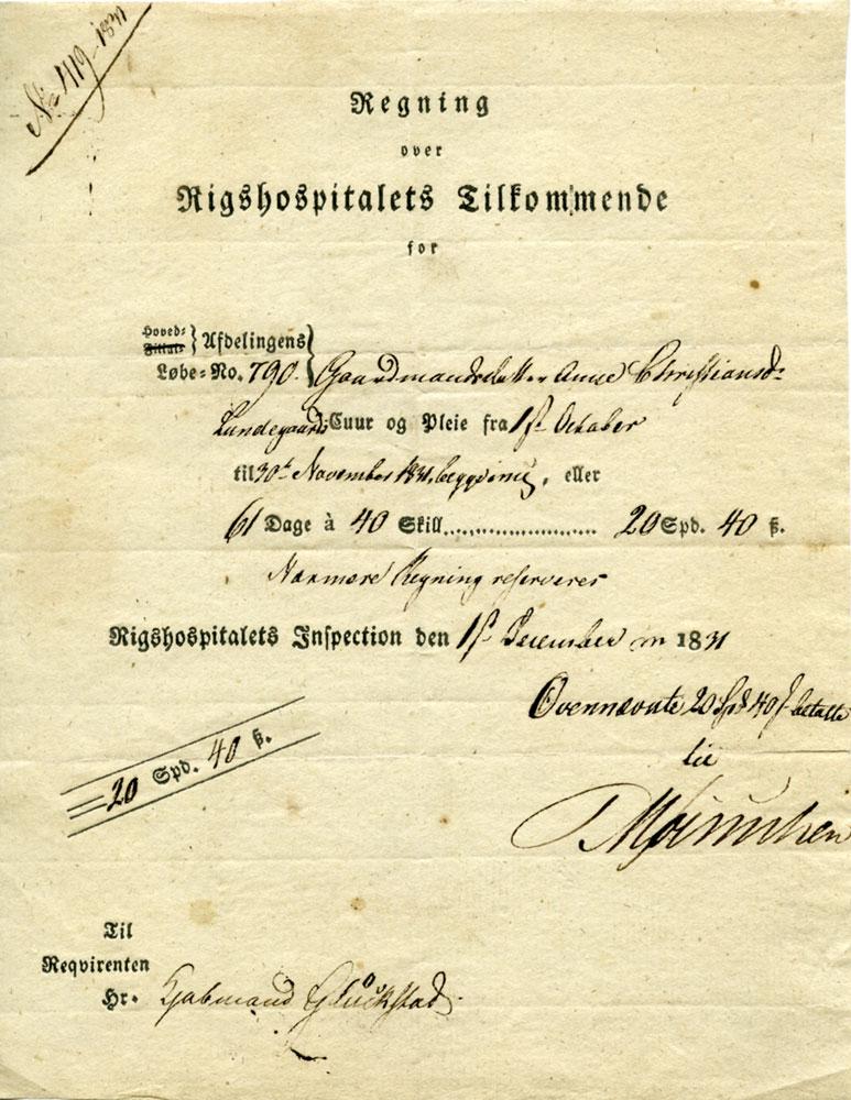 Regning fra Rigshospitalet angående Anne Kristiansdatter Lundgårds (f. 1816) opphold der i 1831