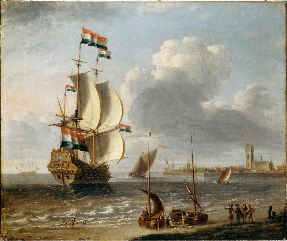 Østindiafarer ved byen Hoorn i Nederland